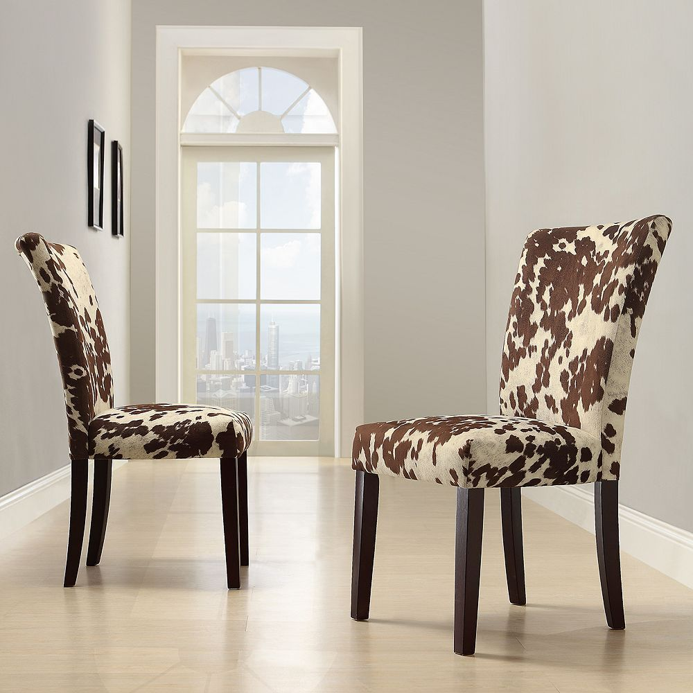 Homevance 2 Pc Parson Cowhide Print Side Chair Set Side Chairs