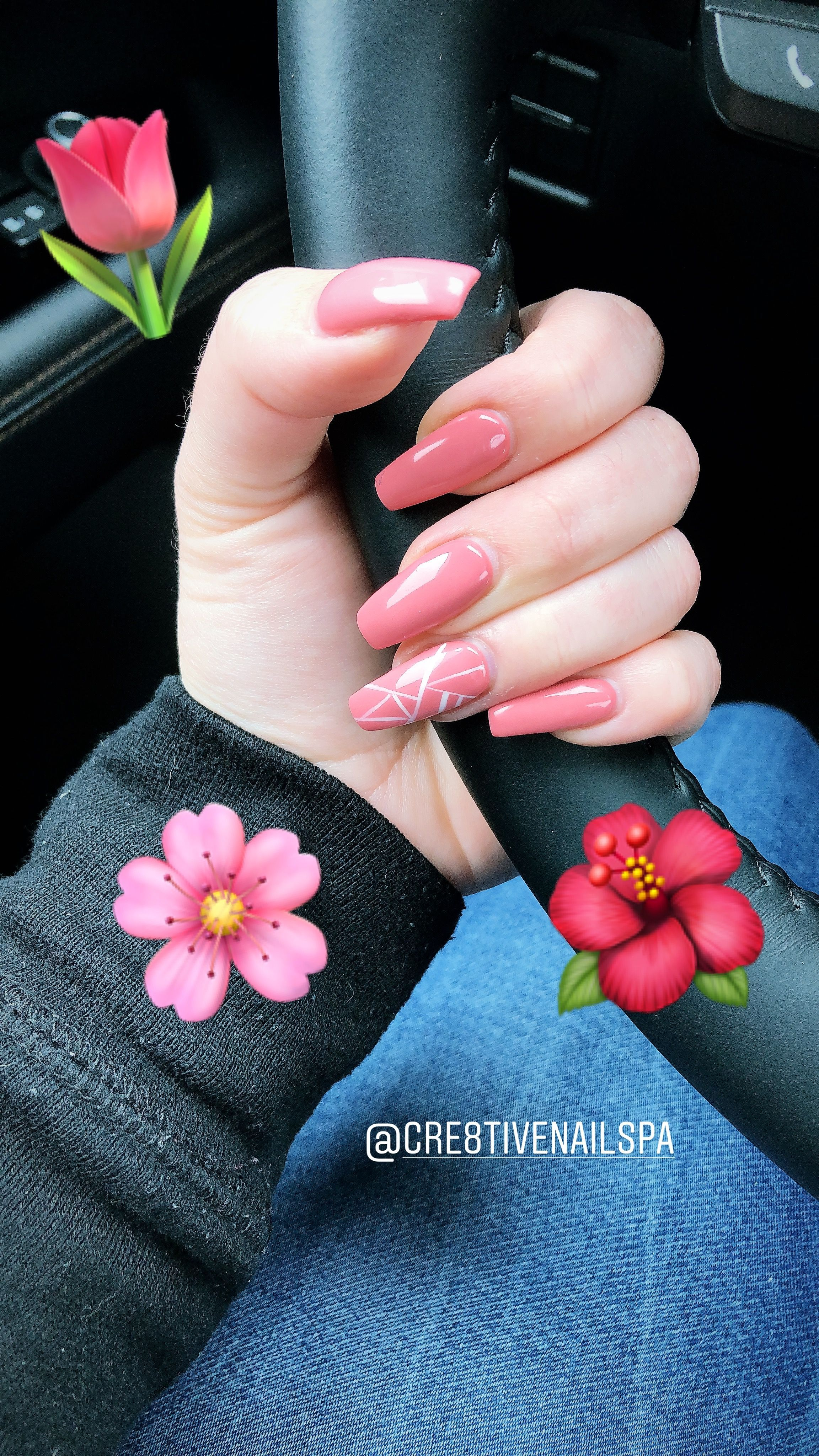 Pink spring nails acrylic coffin shape line nail design white