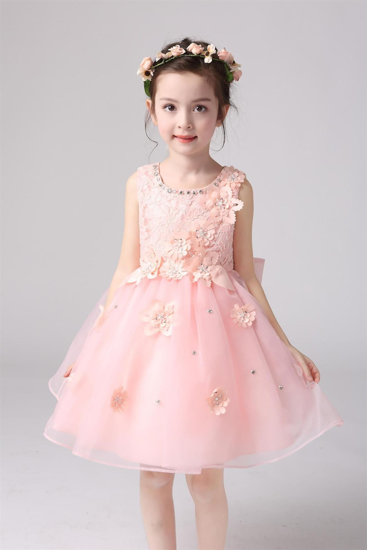2016 Cheap girls lace dress Princess Bridesmaid Flower Girl Dresses ...