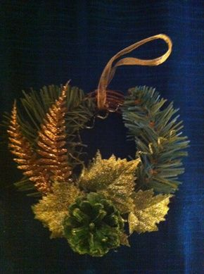 Mini grapevine wreaths make wonderful homemade tree ornaments. They can be decorated with pine cones, ribbon, glitter, florals, evergreen, or plastic snowflakes, glittered leaves. Let the kids help too!