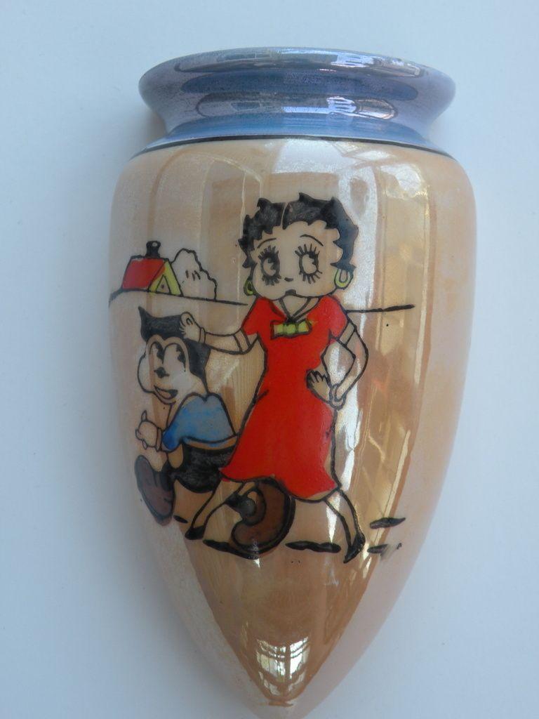 Antique Lusterware Betty Boop And Bimbo Wall Pocket Ebay