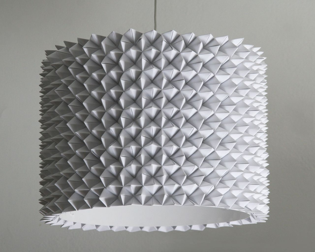 Large Faceted Drum Shade White Folded
