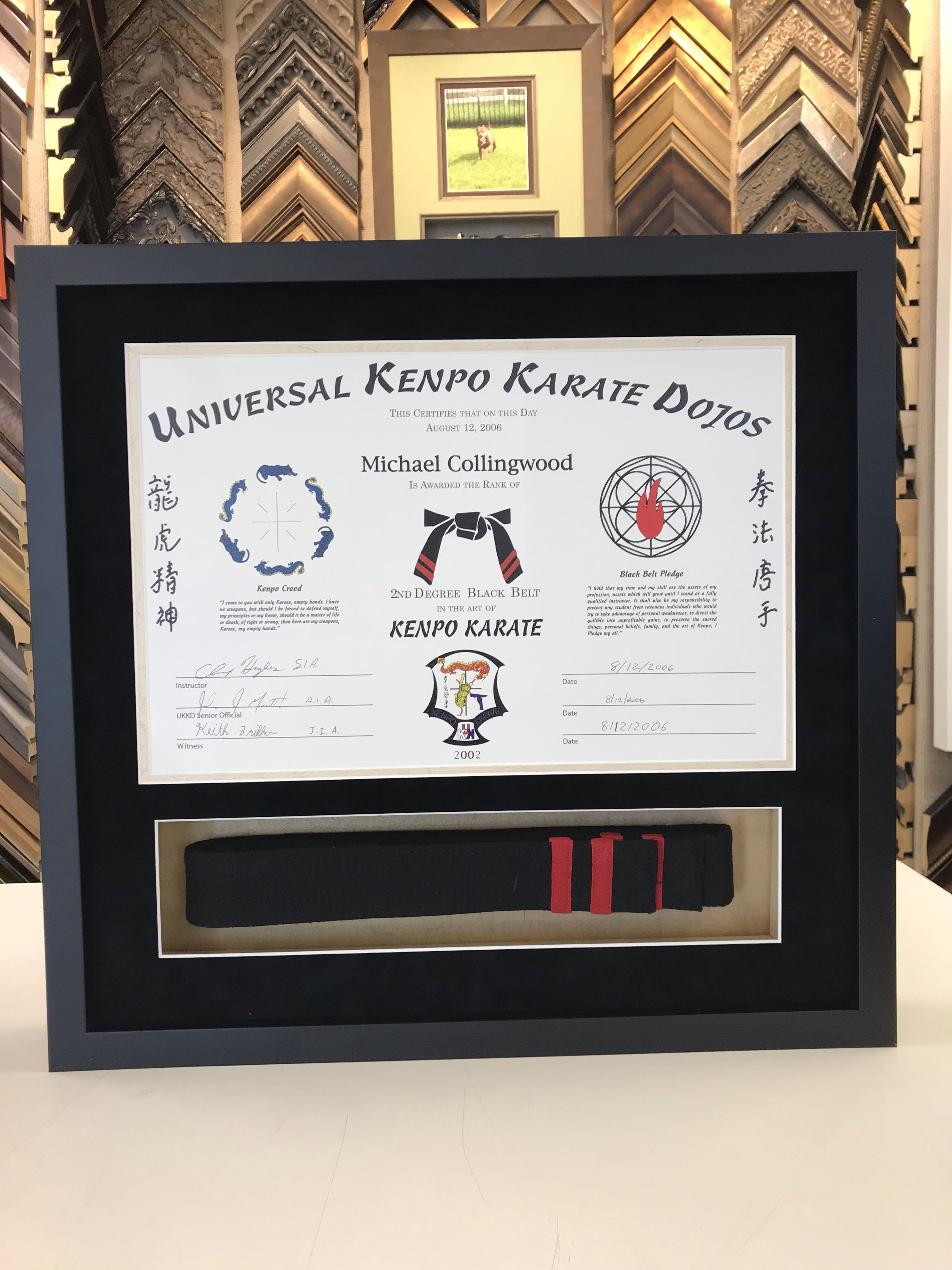 Custom framed Karate Belt with Certificate in Black Frame by My ...