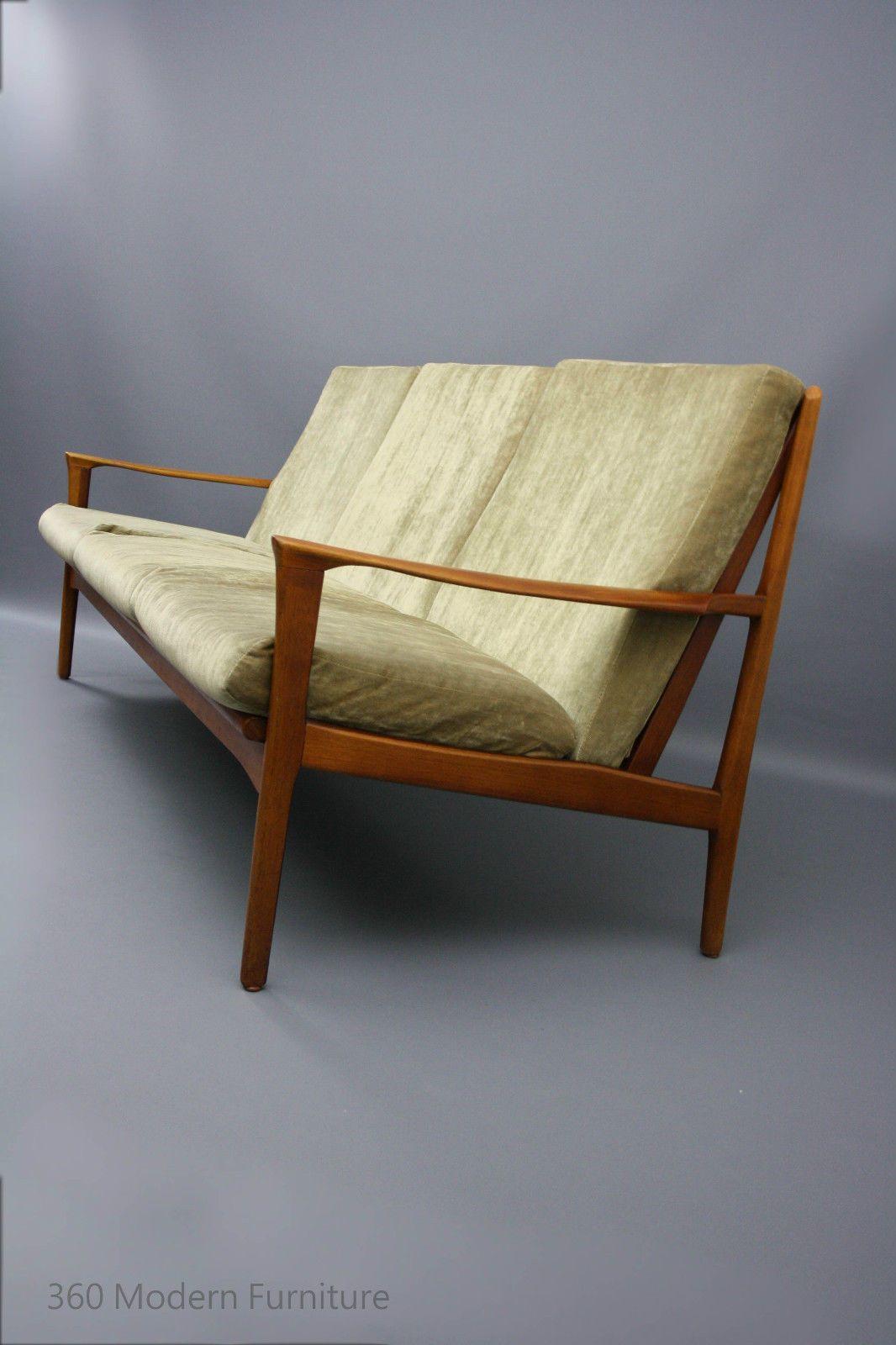 Mid century modern lounge sofa 3 seater couch teak retro vintage lounge danish fler era in vic 360 modern furniture ebay
