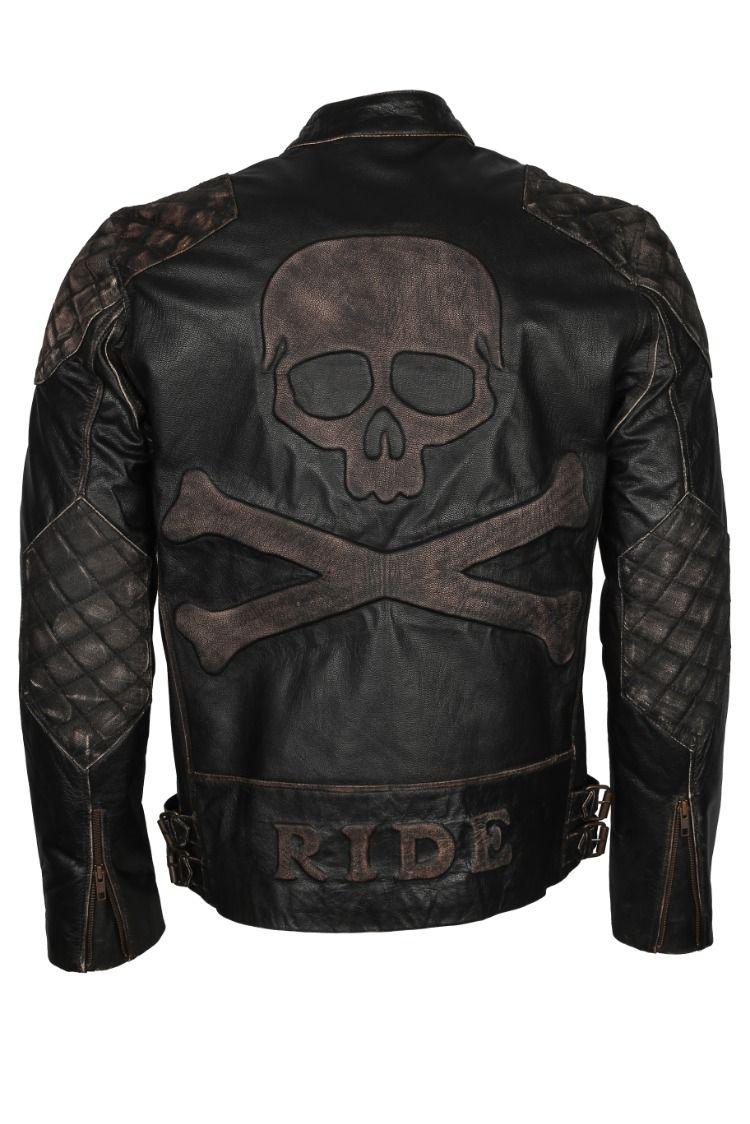Skull And Bones Leather Biker Jacket Vintage Jackets For Motorcycle Rider Genuine Cowhide Wish Biker Leather Leather Jackets Online Biker Jacket Men [ 1124 x 750 Pixel ]