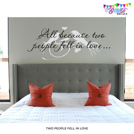 All Because Two People Fell In Love With Birds Quote Vinyl Wall - Custom vinyl wall decals falling off