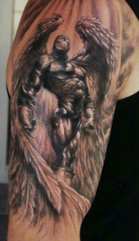 31d1b0fce0d81 Warrior angel Badass Tattoos, Leg Tattoos, Leg Sleeve Tattoo, Shoulder  Tattoo, Body