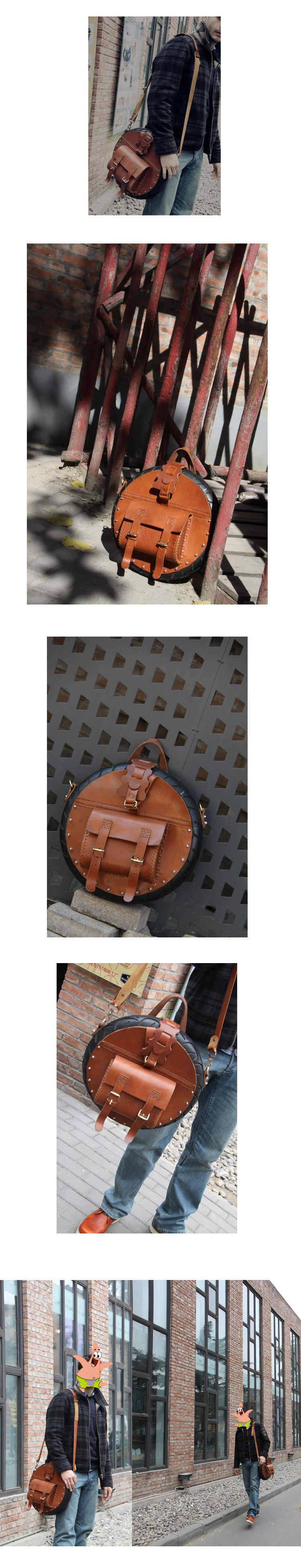 Men's Custom Handmade Unique Leather Circular Satchel