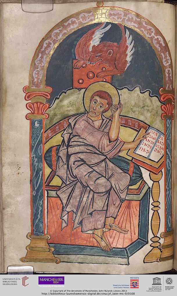 Manchester, John Rylands Library, Latin MS 9 Evangeliarium Lorsch, 2. Viertel 9. Jh. The manuscript holds a miniature of St Mark the Evangelist on fol. 50v.  Manuscript description Terms of Use Virtual Library Persistent URL: http://bibliotheca-laureshamensis-digital.de/view/jrl_latin-ms-9 URN: urn:nbn:de:bsz:16-diglit-151979
