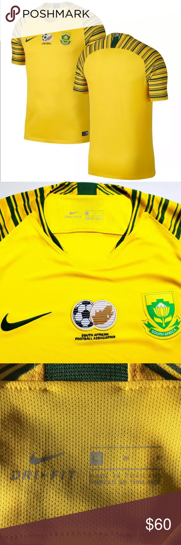 Nike South Africa 2018 Home Jersey Medium Soccer New With Tags Yellow With Green Stripes Medium 2018 Ap20 316 Nike S Clothes Design Fashion Design Nike Shirts