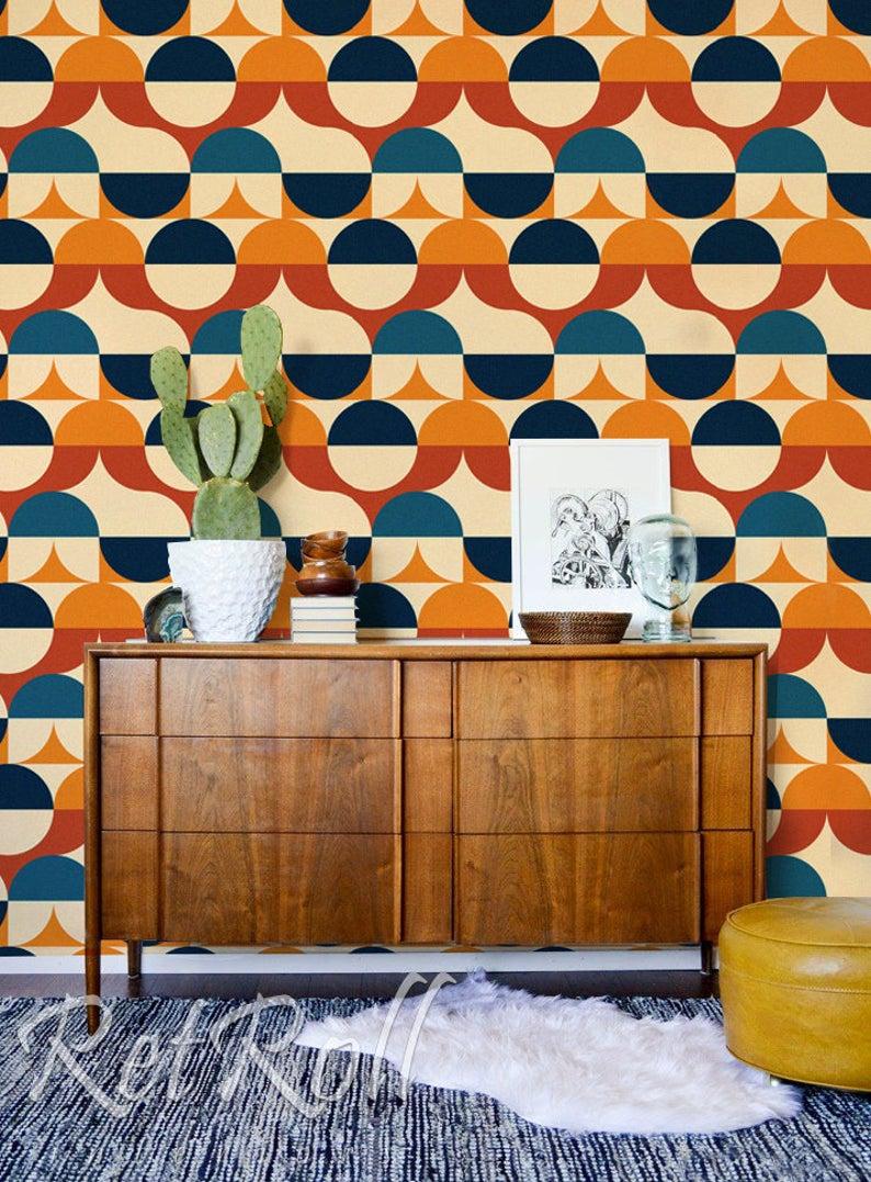 Retro Circles Removable Wallpaper Vintage Style Oldshool Etsy In 2021 Retro Wallpaper Decor Removable Wallpaper