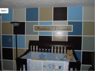 Multi Colored Square Pattern Painted Wall Wall Painting Room