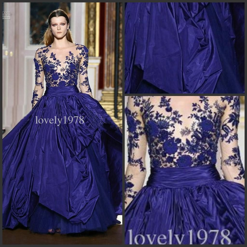 New Arrival Zuhair Murad Prom Dress Royal blue Long Sleeve Applique ...