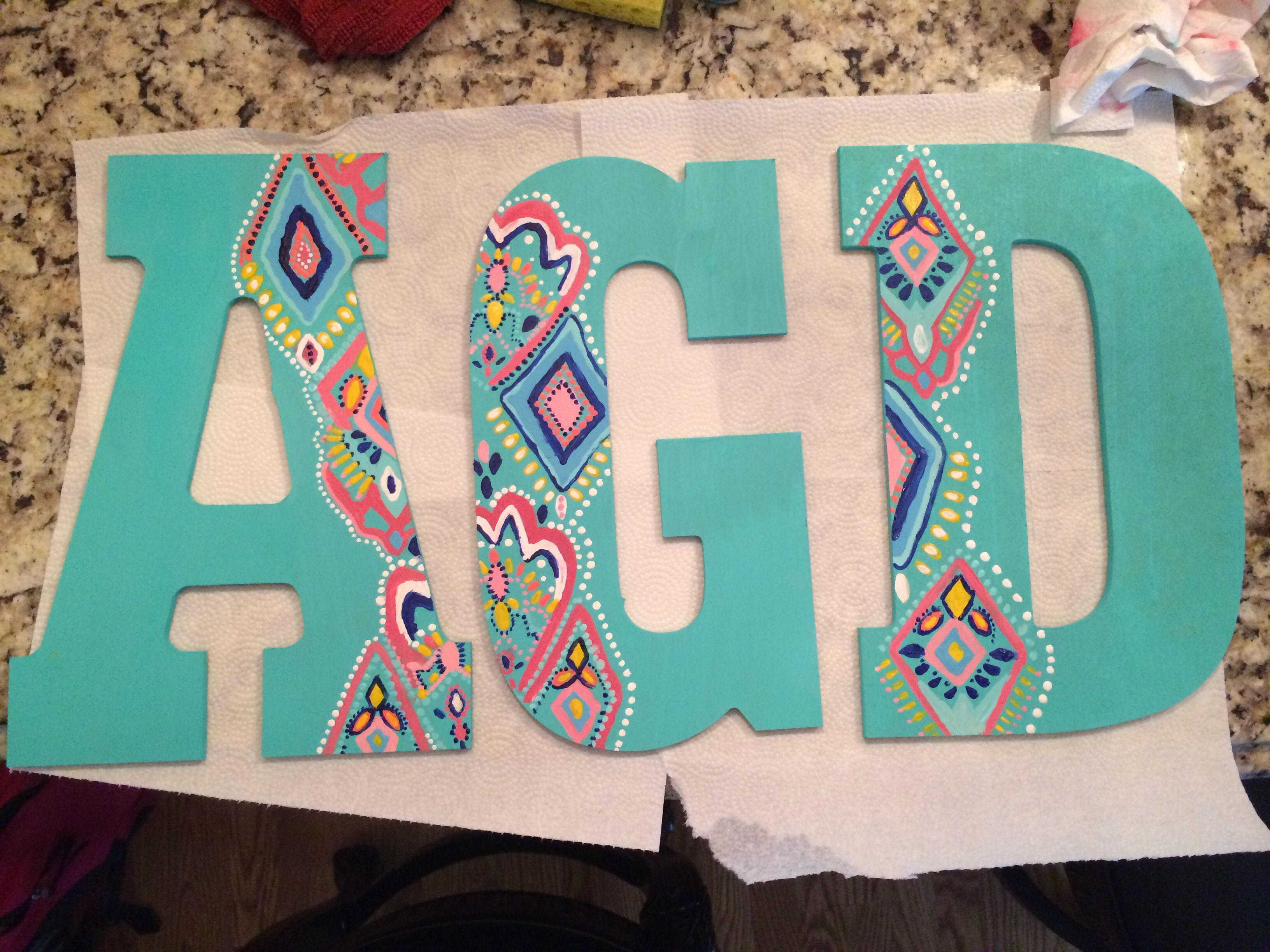 alpha gamma delta decorated letters