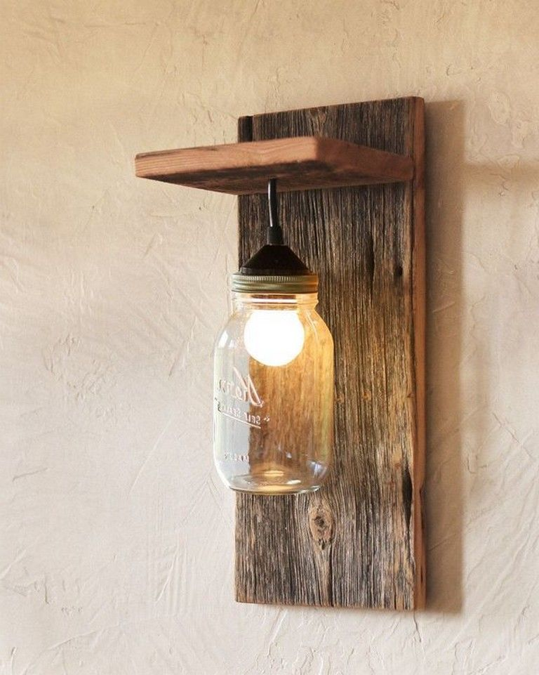 38 Smart Diy Mason Jar Wall Scones Ideas For Home Decor Diycrafts Diyideas Diydec Mason Jar Light Fixture Diy Hanging Light Fixtures Farmhouse Wall Sconces