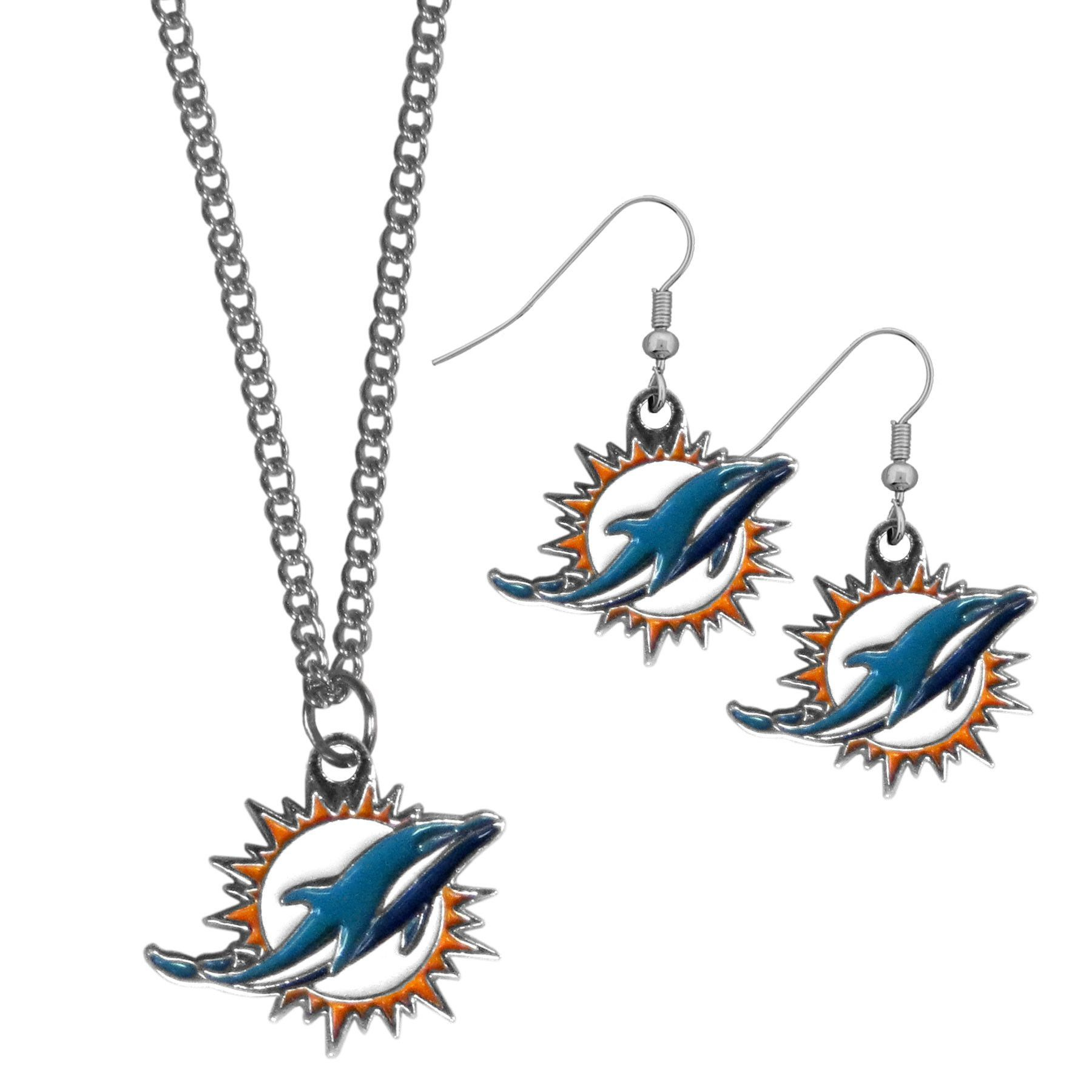 Miami dolphins dangle earrings and chain necklace set products