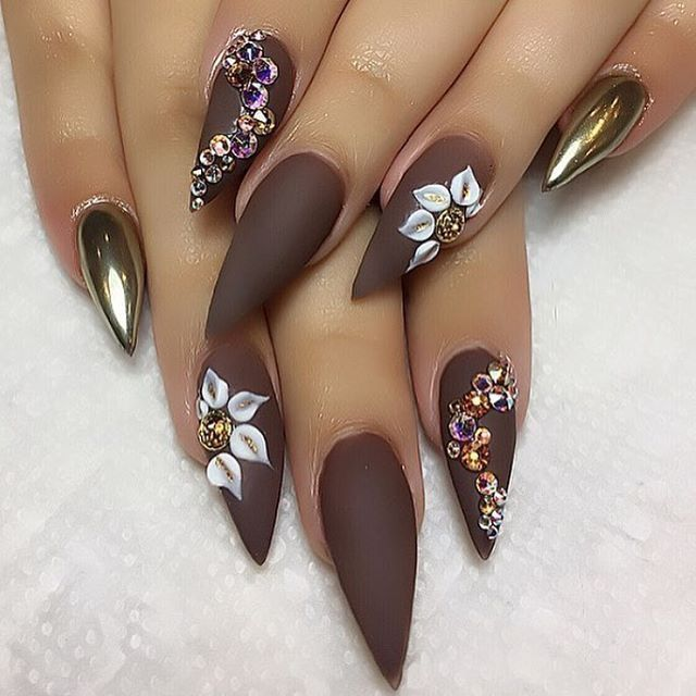 Matte Brown Stiletto w Chrome & Rhinestone Accents #FallNails ...