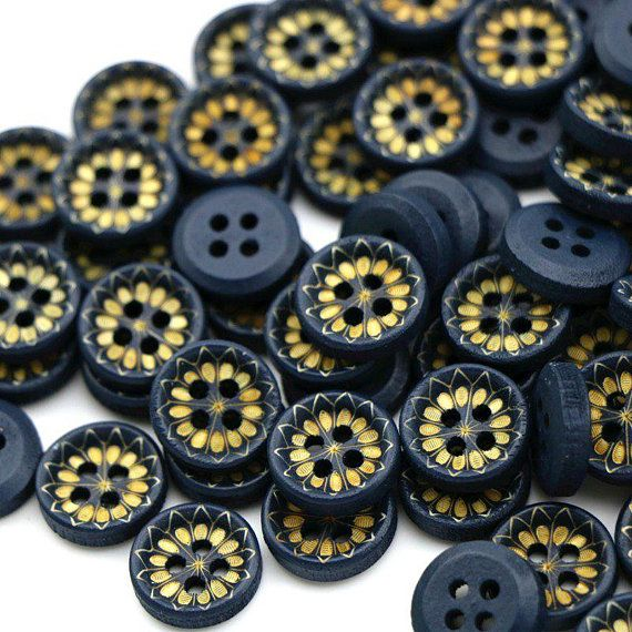 50 Dark Blue Buttons | Blue Wood Buttons | Laser Cut Buttons
