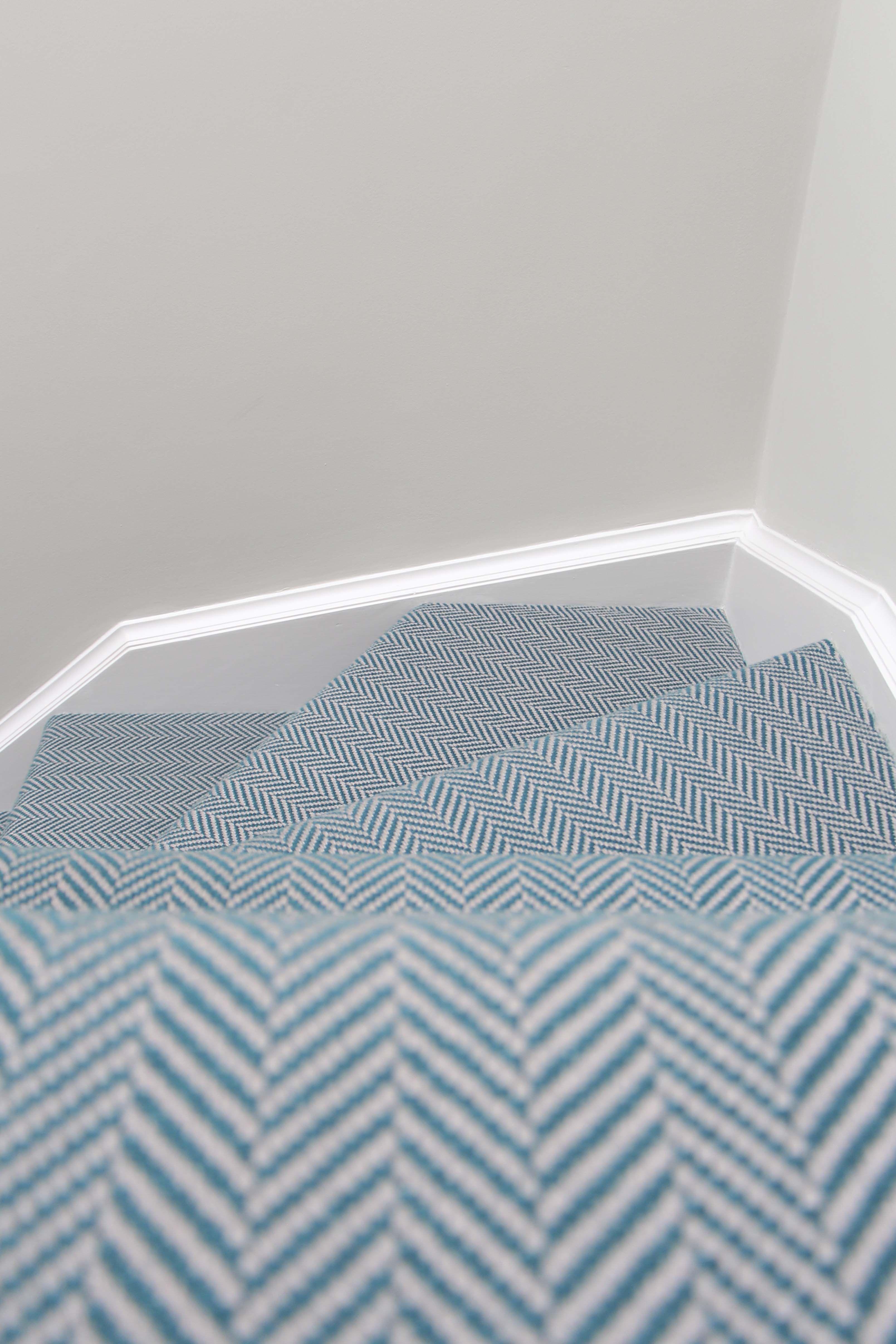 Hartley Tissier Herringbone Flatweave Runner In Teal And Grey Simply Stunning Hartleytissier Hartle Stair Runner Carpet Blue Carpet Bedroom Carpet Stairs