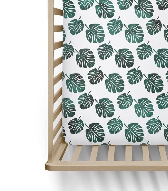 Tropical Leaf Gender Neutral Fitted Crib Sheets Green