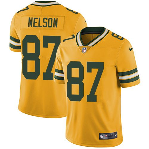 Men\'s Elite Jordy Nelson Nike Jersey Gold - #87 Rush NFL Green Bay Packers