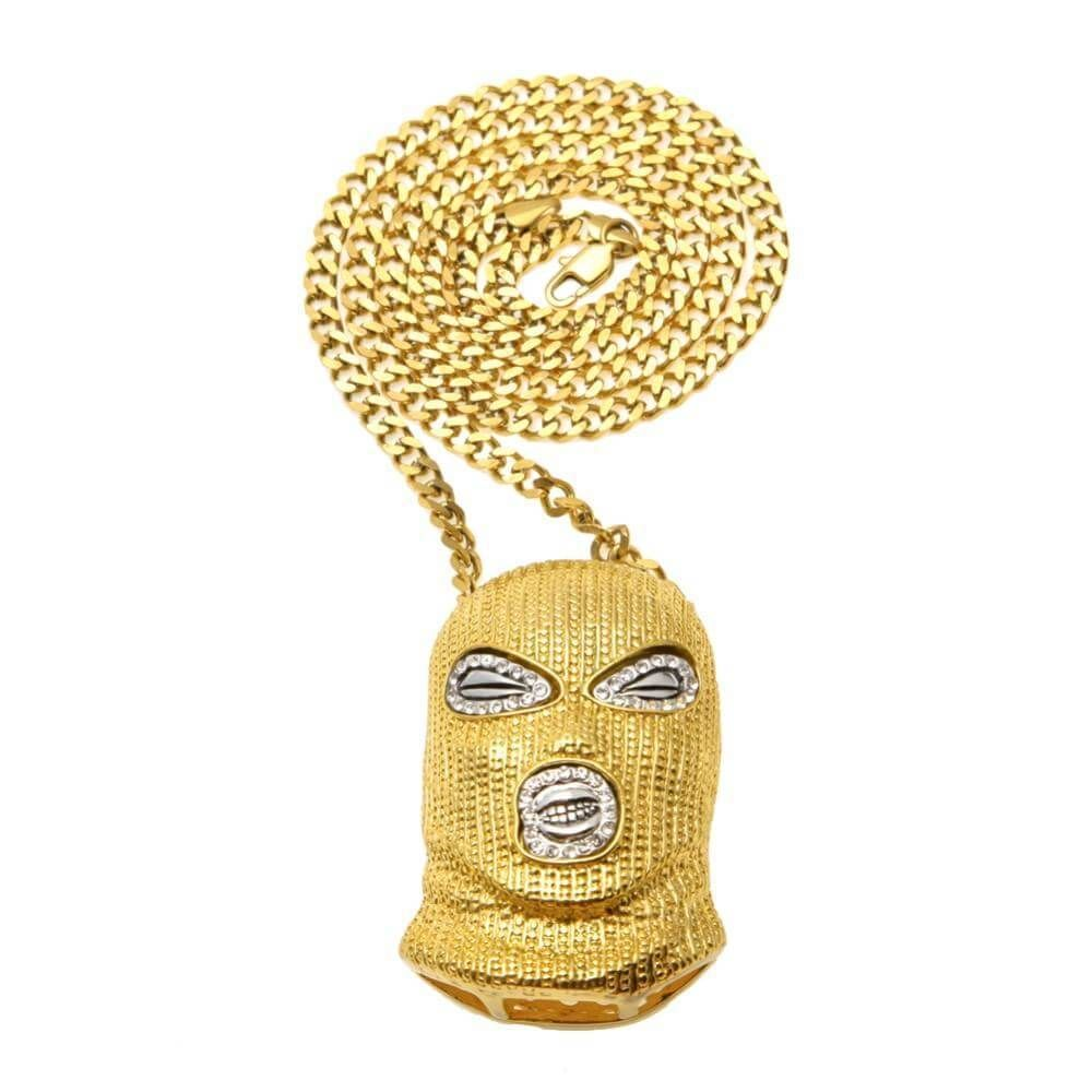 Iced Out Balaclava Mask Chain Necklace Goon Pendant Hip Hop Rapper Rap Bling