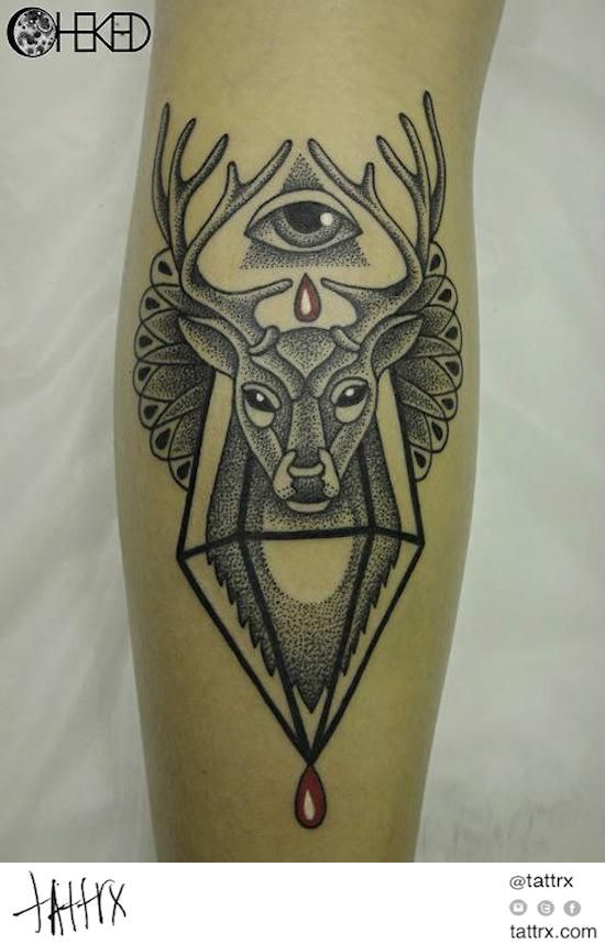 alice cheked deer all seeing eye tattoo ink ink