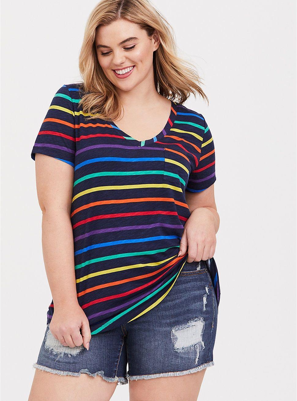 dce28846 Rainbow Stripe V-Neck Pocket Tee in 2019   PRIDE & (no) Prejudice ...