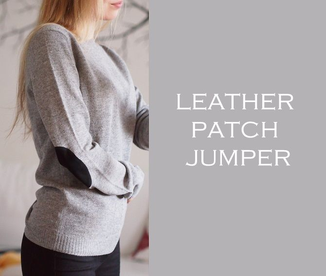 Leather patch jumper for cold days