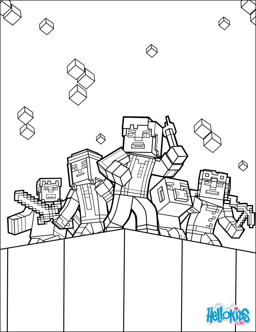 Explore the world coloring page from Minecraft video game More Minecraft coloring sheets on hellokids