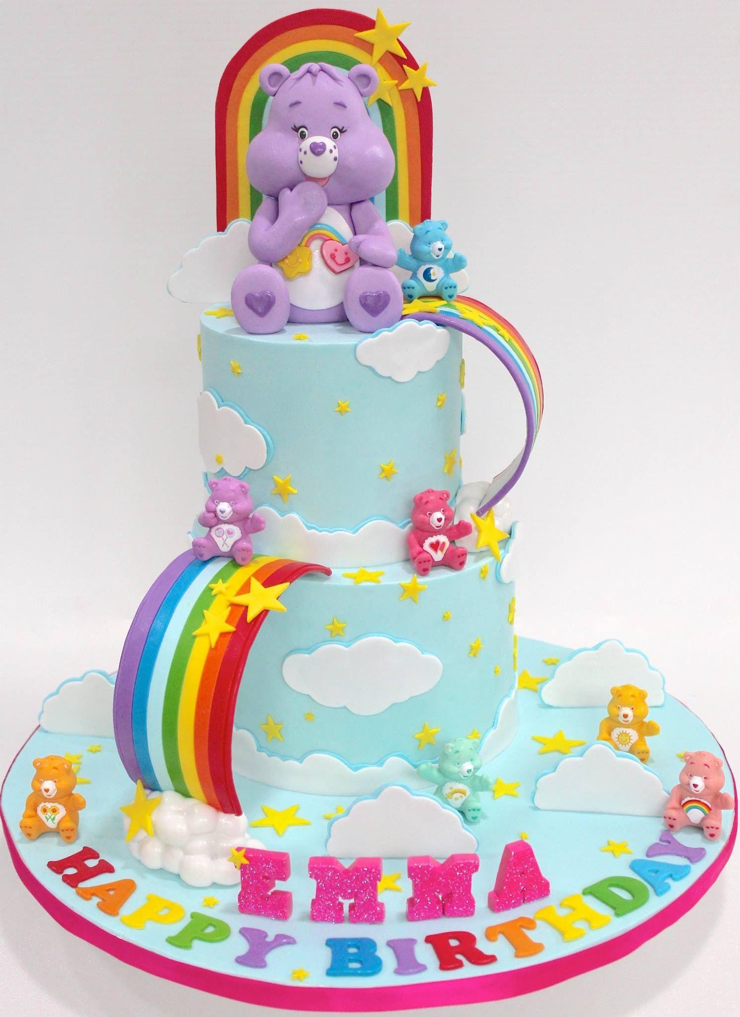 Care Bears And Rainbow 2 Tier Cake Com Imagens Bolo Ursinhos