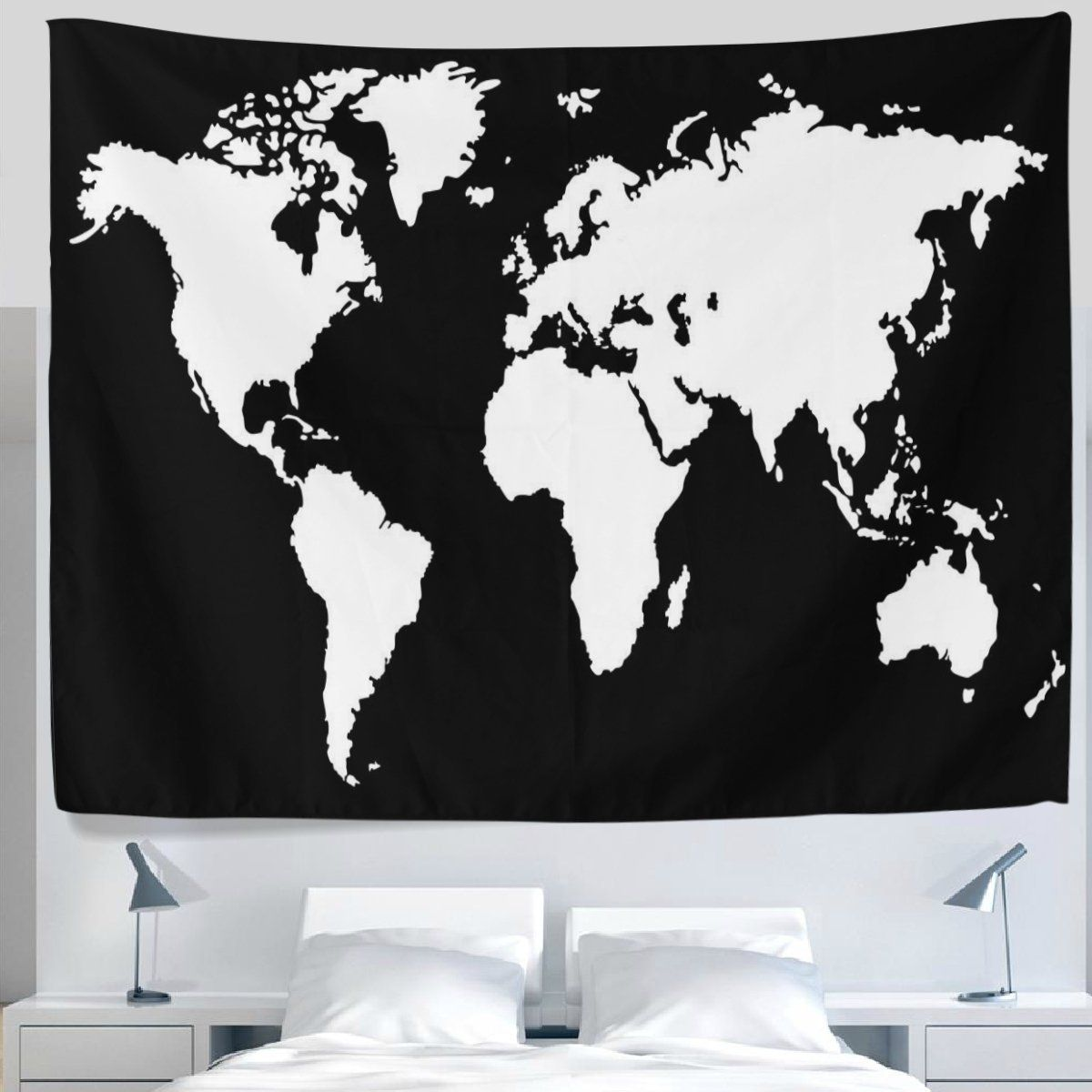 Alaza creative black and white world map tapestry wall hanging alaza creative black and white world map tapestry wall hanging artistic light weight polyester fabric gumiabroncs Gallery