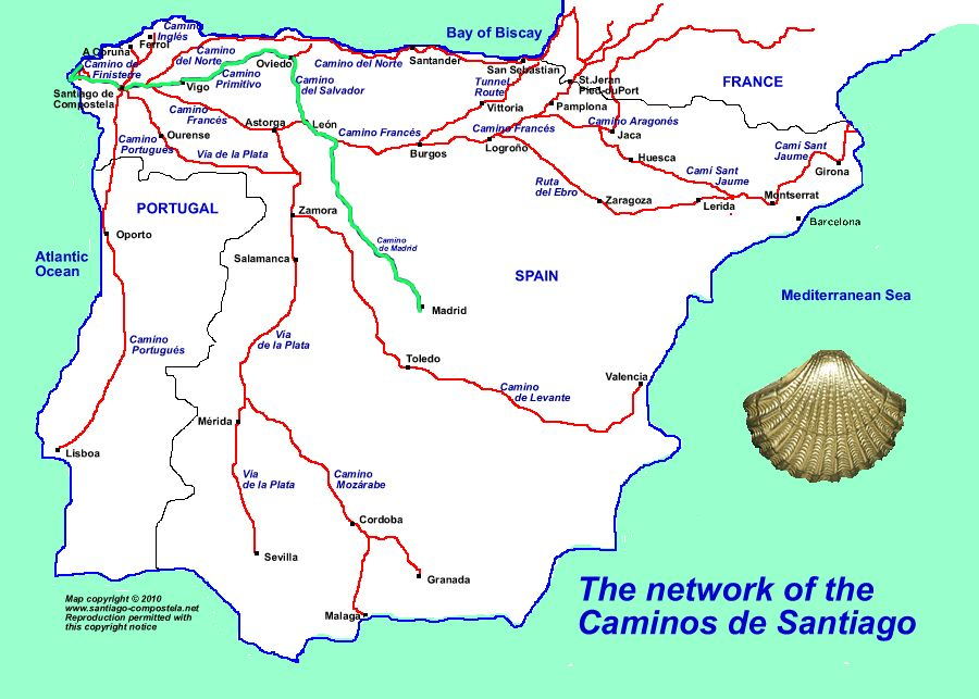 My 2017 Route Marked In Green Camino De Santiago Santiago De Compostela Santiago