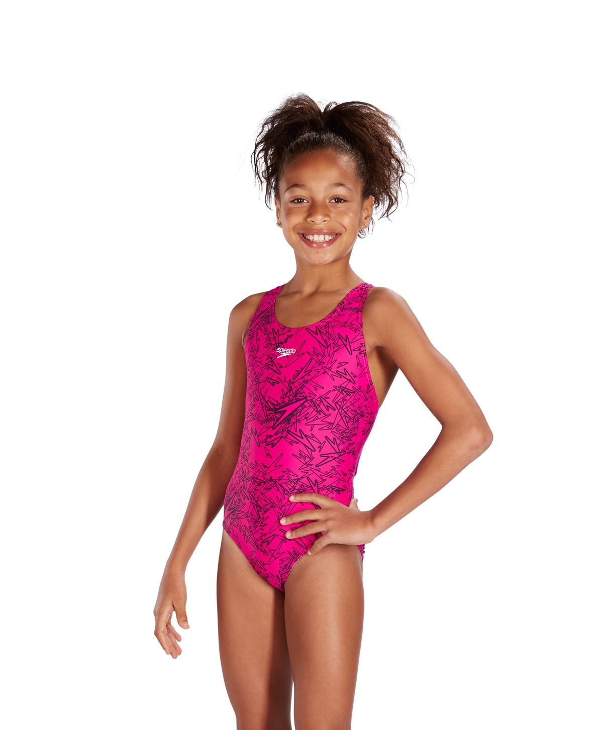 12c88a4598eab Speedo Boom Allover Splashback Endurance 10 Electric Pink/Black 8-10843B352  Junior Swimsuits