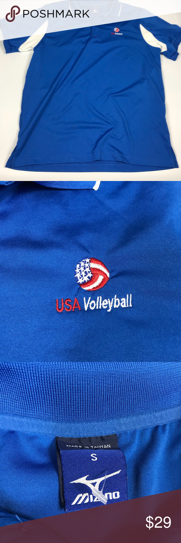 Mizuno Team Usa Volleyball Men S Polo Shirt This Item Is In Overall Good Used Condition Comes From A Smoke Free Home Usa Volleyball Volleyball Shirt Fashion