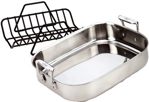 All Clad 51114 Stainless Steel Petite Roti Pan With Nonstick V Shaped Roasting Rack Co Cookware Set Stainless Steel Roasting Racks Stainless Steel Dishwasher