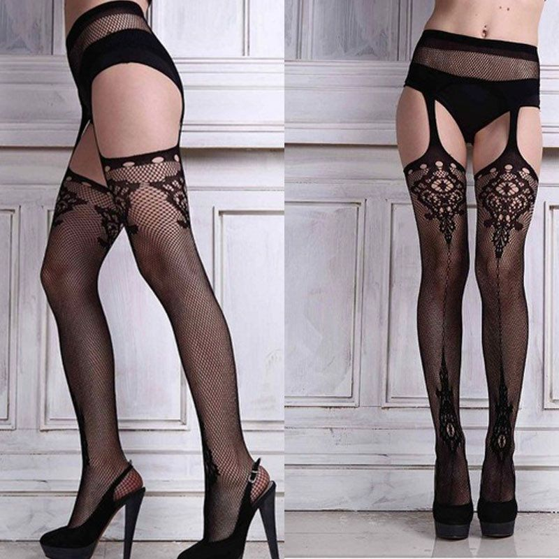 Fashion Womens Stay up Stockings Sheer Thigh High Hollow Out Elastic Top Socks