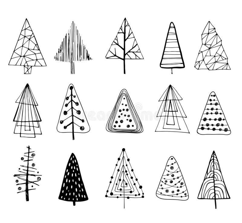 Set Of Doodle Christmas Trees Vector Illustration Christmas Tree Drawing Christmas Doodles Christmas Drawing