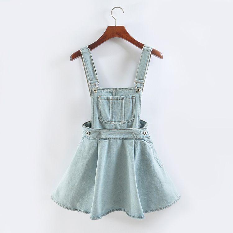 Vivi Japan strap denim dress summer detachable denim dress student women  kawaii harajuku clothes American girl