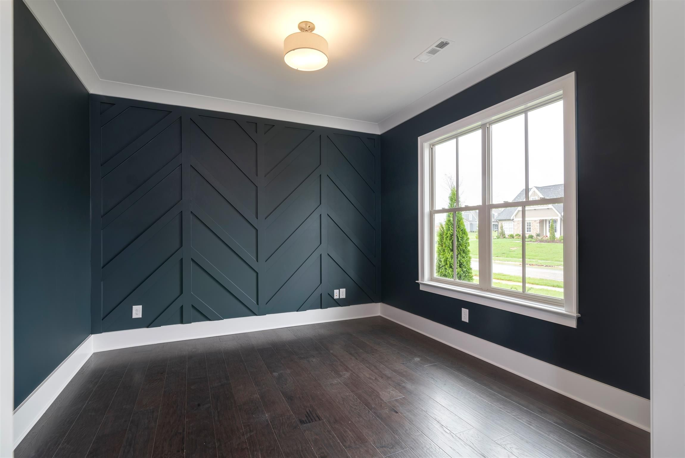 Home Office Downstairs With Chevron Accent Wall Chevron Accent