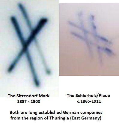 Porcelain marks crossed lines