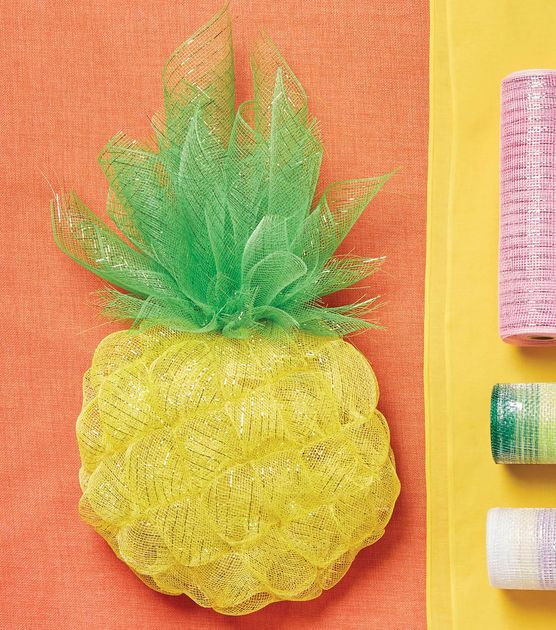 Photo of Learn To Make A Pineapple Wreath From Decorative Mesh JOANN