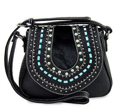 New Montana West® Flap Top Messenger w/ TQ Lacing, Silver & Patina Studs- Black