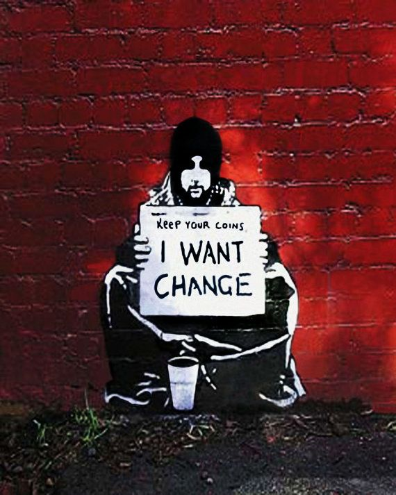 Banksy Canvas I Want Change Street Art Grafitti Premium Print