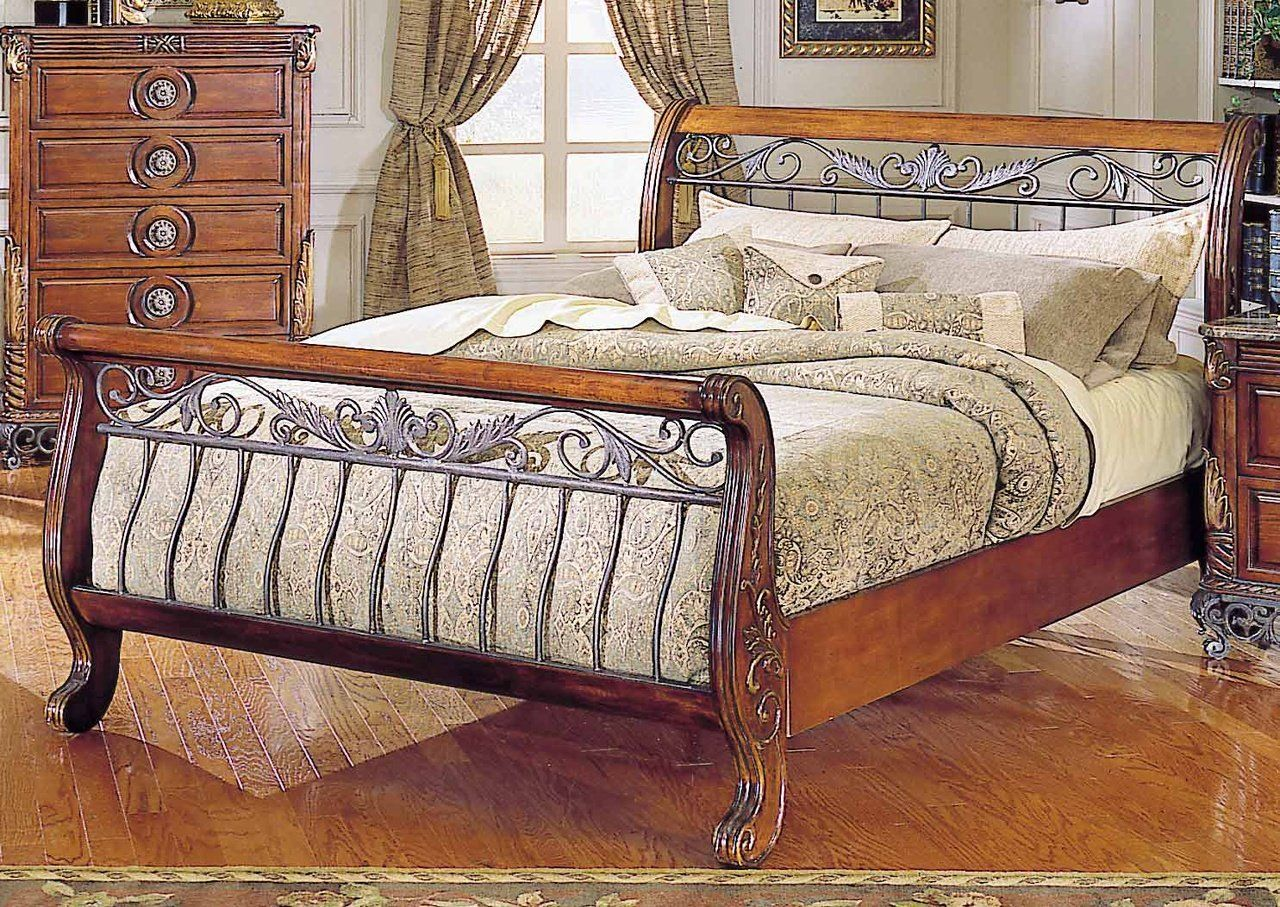 Iron And Wood Sleigh Bed Frame For Queen Size Of Iron Bed Frames