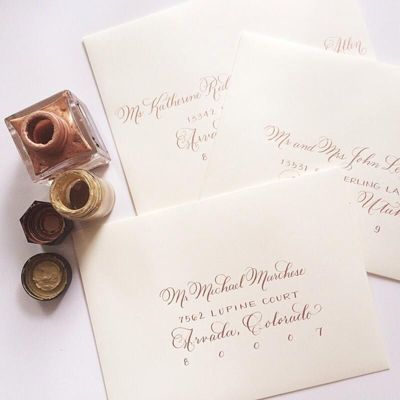 Laura Hooper Calligraphy - Rose Gold ink on ivory Invitations - ivory resume paper