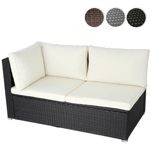 Miadomodo Polyrattan Lounge Corner Sofa 2 Seater Outdoor Garden Patio  Wicker Rattan Furniture (Black): Amazon.co.uk: Kitchen U0026 Home