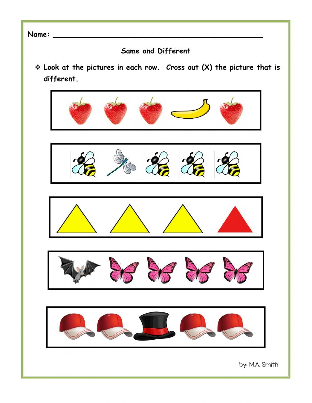 Same And Different Interactive And Downloadable Worksheet You Can Do The Exercises Online Or D Free Preschool Worksheets Kids Worksheets Printables Worksheets