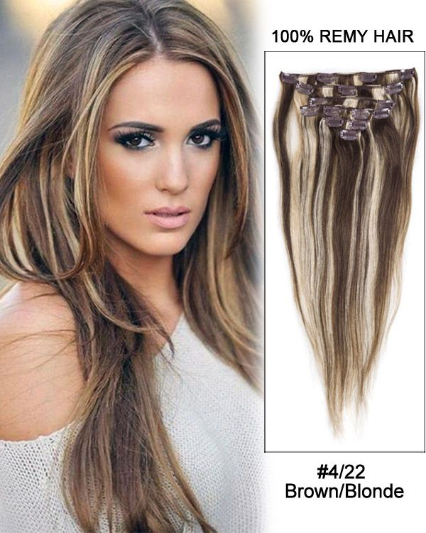 30 422 brownblonde straight 100 remy hair clip in hair brownblonde straight remy hair clip in hair extensions pmusecretfo Gallery