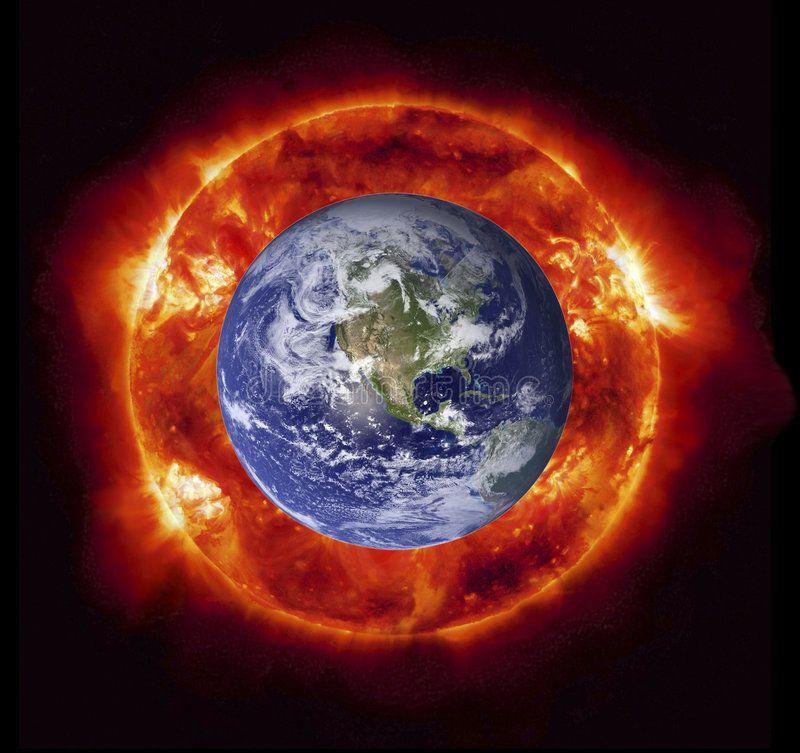 Burning Earth. Concept Of The Sun Burning The Planet Earth